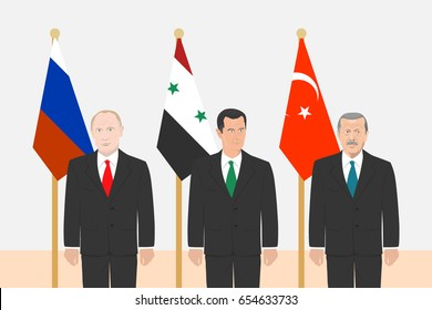 June 6, 2017: editorial vector illustration of the Russian Federation President Vladimir Putin, the President of Syria Bashar Al-Assad and the President of Turkey Recep Erdogan on flags background.