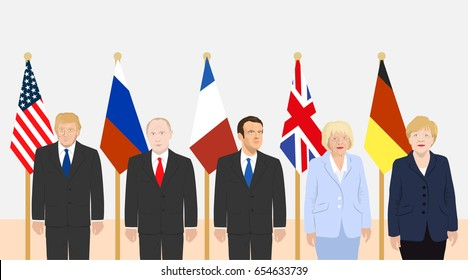 June 6, 2017: editorial vector illustration of the French President Macron, the USA President Trump, the Russian President Putin, the Prime Minister of the UK May and the Chancellor of Germany Merkel