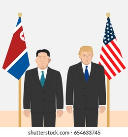 June 6, 2017: editorial vector illustration of the supreme leader of the North Korea Kim Jong-un and the USA President Donald Trump on countries' flags background.