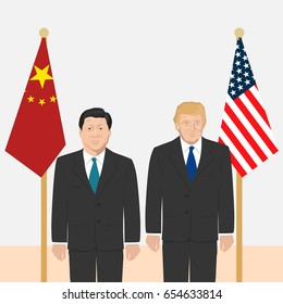 June 6, 2017: editorial vector illustration of the President of People's Republic of China Xi Jinping and the USA President Donald Trump on countries' flags background.