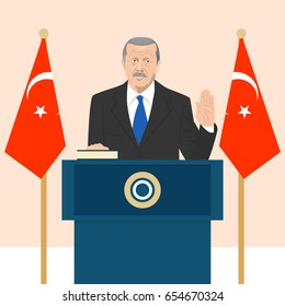 June 6, 2017: editorial vector illustration of the President of Turkey Recep Erdogan that is taking an oath on Turkish flag background.