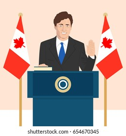 June 6, 2017: editorial vector illustration of the Canadian Prime Minister Justin Trudeau that is taking an oath on Canadian flag background.