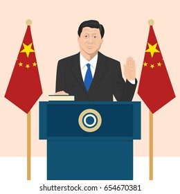 June 6, 2017: editorial vector illustration of the President of People's Republic of China Xi Jinping  that is taking an oath on French flag background.