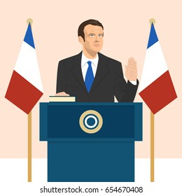 June 6, 2017: editorial vector illustration of the President of France Emmanuel Macron that is taking an oath on French flag background.