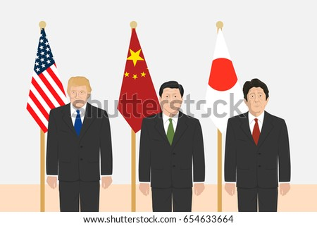 June 6, 2017: editorial vector illustration of the Prime Minister of Japan Shinzo Abe, the President of People's Republic of China Xi Jinping and the USA President Donald Trump.