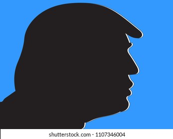 JUNE 6 2018: A vector illustration of a profile of President Donald Trump with white shades on a light blue background, editorial use