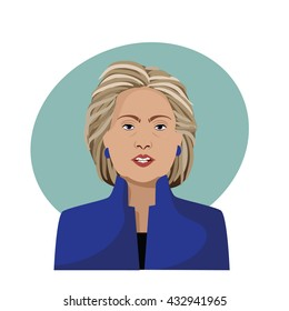 JUNE 7, 2016: Illustrative editorial cartoon of Hillary Clinton speaking.