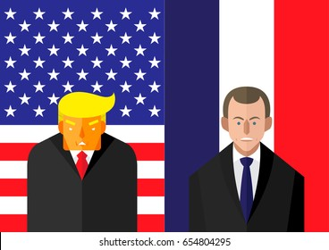 June 7, 2017: vector illustration of USA president Donald Trump and french leader Emmanuel Macron in front American and French flags representing the political relationship between America and France.