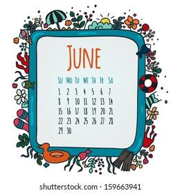June Illustrated Calendar