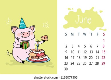 June month 2019 year calendar page with cute pink pig,funny pork with cake,vector illustration