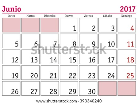 june month year 2017 wall calendar stock vector royalty free