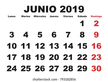 June month in a year 2019 wall calendar in spanish. Junio 2019. Calendario 2019