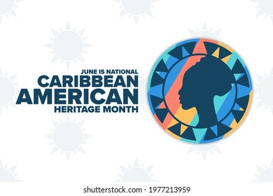 June is National Caribbean American Heritage Month. Holiday concept. Template for background, banner, card, poster with text inscription. Vector EPS10 illustration
