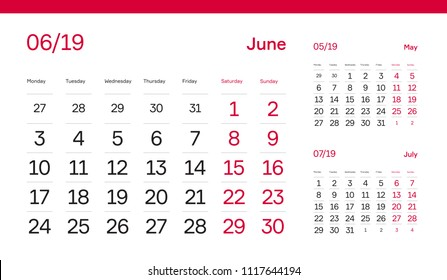 JUNE PAGE. 12 Months Premium 2019 Calendar Grid Set. Table, Wall, Desk, Quarter Diary Calendar 2019 Year Design. Clean, Simple Diary Planner. Vector, Editable. White Background and Red Font.