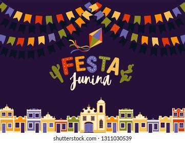 June party of Brazil, bright night the background with colonial houses, church, lights and colored flags and the words in Portuguese Festa Junina illustration with place for announcement invitation.