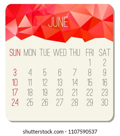 June year 2018 vector calendar. Week starting from Sunday. Contemporary low poly design in vibrant red color.