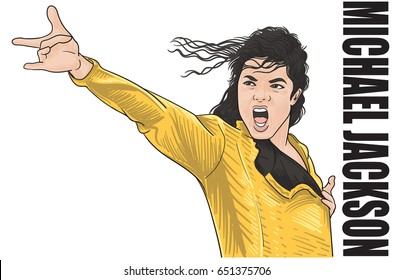 JUNE,1,2017:Caricature character illustration of Michael Jackson