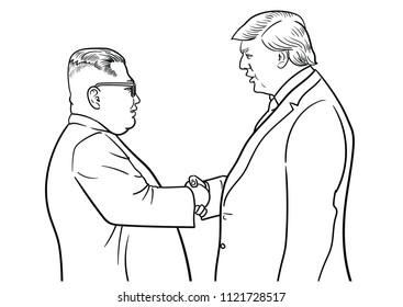 June,27,2018:Caricature character illustration of Kim Jong Un and Donald Trump