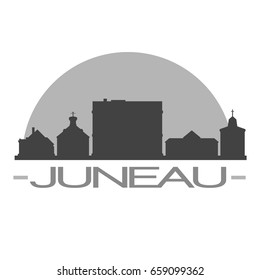 Juneau Skyline Silhouette Skyline Stamp Vector City Design