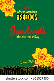 Juneteenth, African-American Independence Day, June 19. Day of freedom and emancipation. Raised hands of many people who vote for freedom and the abolition of slavery. Colors of Pan-African flag