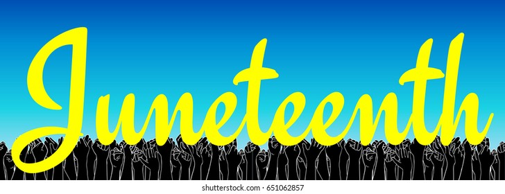 Juneteenth, African-American Independence Day, June 19. Day of freedom and emancipation. Yellow text on a sky-blue background, extra wide banner with raised people hand on background