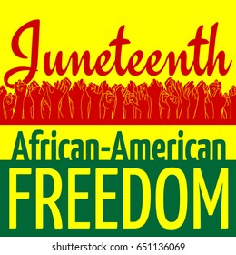 Juneteenth African-American Independence Day, June 19. Day of freedom and emancipation. Colors of Pan-African flag. Yellow banner with horizontal seamless border of raised hands of celebrating people