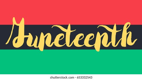 Juneteenth Banner With Flag For 19 June. Vector