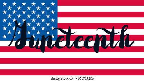 Juneteenth Banner With Flag For 19th  June. Freedom lettering. Vector