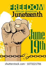 Juneteenth Day, African-American Independence Day, June 19. Day of freedom and emancipation