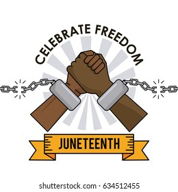 juneteenth day celebrate freedom broken chain hands