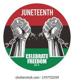Juneteenth Day, celebration freedom, emancipation day in 19 june, African-American history and heritage. vector of a black hand breaking a chain.