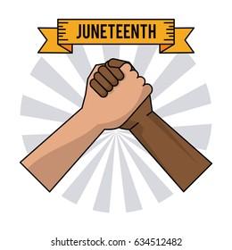 juneteenth day handshake color freedom celebration