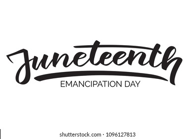 Juneteenth emancipation day, hand-written text, typography, hand lettering, calligraphy. Hand writing of word Juneteenth, june 19, for holiday postcard, greeting card, flyer, banner, poster. One color