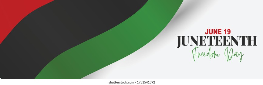 Juneteenth Freedom Day. 19 June African American Emancipation Day. Annual American holiday. Black, red, and green banner or header background with lettering. Vector illustration.