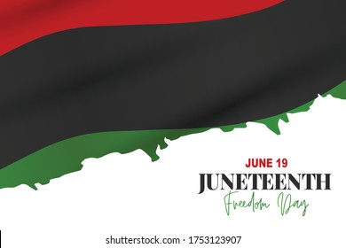 Juneteenth Freedom Day. 19 June African American Emancipation Day. Annual American holiday. Black, red, and green banner background with lettering. Vector illustration.