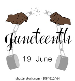 Juneteenth, Freedom Day. African-American Independence Day, June 19. The concept of a national holiday. The mans hands broke the chain of handcuffs. Vector illustration