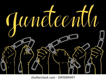 Juneteenth, Freedom Day. African-American Independence Day, June 19. The concept of a national holiday. The man's hands broke the chain of handcuffs. Vector illustration