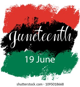 Juneteenth  Freedom Day. African-American Independence Day, June 19. The concept of a national holiday.Pan-african flag drawn with brush in grunge style. Vector illustration