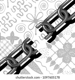 Juneteenth, Freedom Day. African-American Independence Day, June 19. The concept of a national holiday. Broken chain. Gray coloured Background - African ornaments.