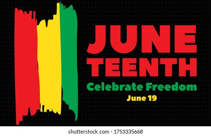 Juneteenth Freedom Day. African-American Independence Day, June 19. Juneteenth Celebrate Black Freedom. T-Shirt, banner, greeting card design. Vector ilustration. EPS 10