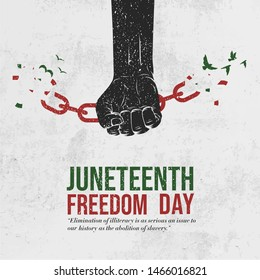 Juneteenth Freedom Day. Emancipation Day. Black Arm breaking chains. Chains breaking with doves. Liberation Day