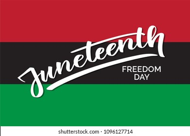 Juneteenth freedom day, hand-written text, typography, hand lettering, calligraphy. Hand writing of word Juneteenth, june 19, on a flag for holiday postcard, greeting card, flyer, banner, poster