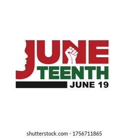 Juneteenth Freedom Day. June 19, 1865. Black Lives Matter Design of Banner and Flag. Vector logo Illustration.