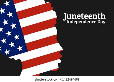 Juneteenth Freedom, Emancipation, Independence Day. June 19. African-American girl silhouette with national flag of United States of America. For poster, banner, card and background. Vector EPS10.