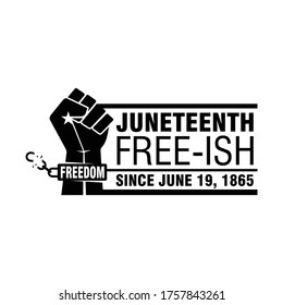 Juneteenth Free-Ish. Freedom. Since June 19, 1865. Design of Banner and Flag. Vector logo Illustration.