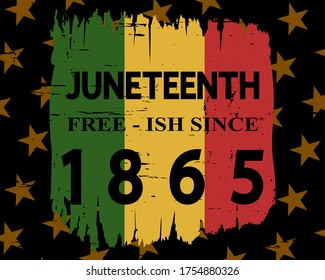 Juneteenth Free-ish Since 1865 poster, cover design, banner, greeting card, festive sticker. American holiday Freedom (Jubilee, Cel-Liberation) Day concept. Modern vector lettering.