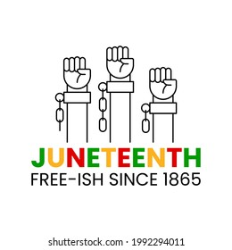 Juneteenth free-ish since 1865. Three clenched fists in air with broken chains. June 19 Jubilee, Liberationand and Emancipation Day. Vector illustration isolated. Design for banner, flyer, poster