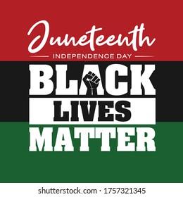 Juneteenth Independence Day. Black Lives Matter. June 19, 1865. Design of Banner and Flag. Vector logo Illustration.