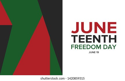 Juneteenth Independence Day. Freedom or Emancipation day. Annual american holiday, celebrated in June 19. African-American history and heritage. Poster, greeting card, banner and background. Vector