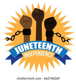 Juneteenth Independence Design With Raised Fists Wearing Broken Shackles EPS 10 Vector